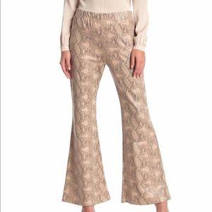 Snake Print High Waist Flare Pants
